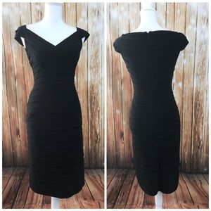 Adrianna Papell Black Shutter Pleat Dress Stretch